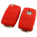 Skoda 3-knops sleutelcover rood