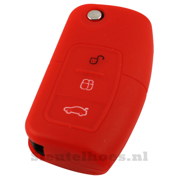 Ford 3-knops klapsleutel sleutelcover – rood (model 2)-